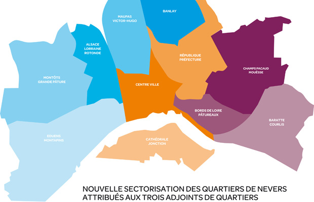 Carte des quartiers de Nevers