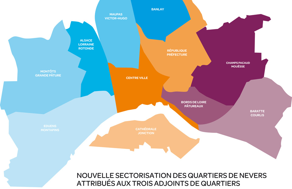 Sectorisation des quartiers de Nevers.